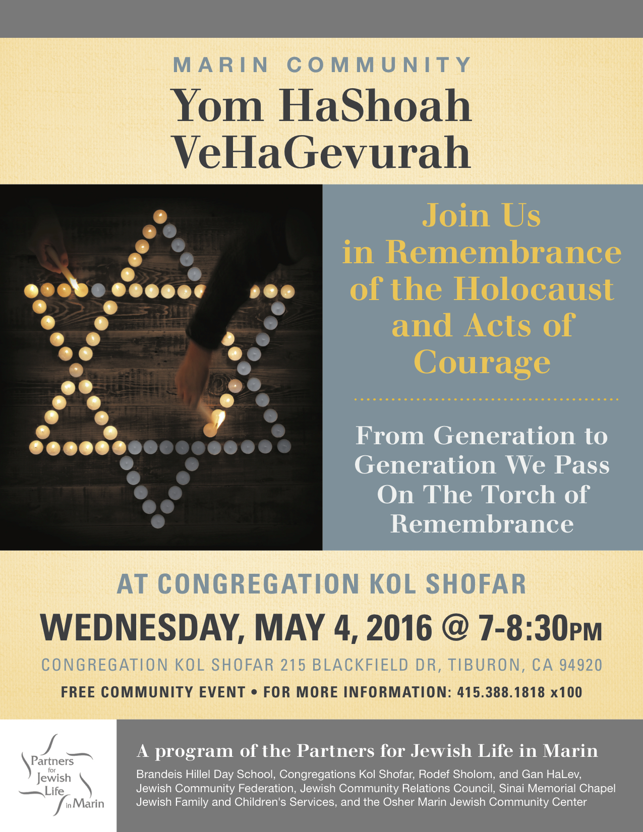 2016 Holocaust Days Of Remembrance Acts Of Courage Poster